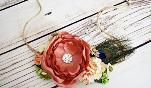 Handcrafted Peacock Feather Flower Crown - Peaches and Cream Flower Crown - Orange and Cream Flower Crown - Boho Headband - Easter Halo