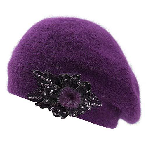 Yezijin Women Ladies Winter Warm Cap Knitted Hat Beret Baggy Beanie Hat Slouch Ski Cap Soft Stretch Outdoor Hats (D-Purple) -