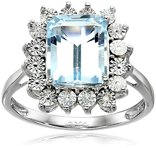 Topaz Blue Ring Ladies Sky (Sterling Silver Sky Blue Topaz and Diamond Ring, Size 7)