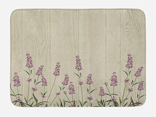 Lunarable Lavender Bath Mat, Aromatic Herbs on Wooden Planks
