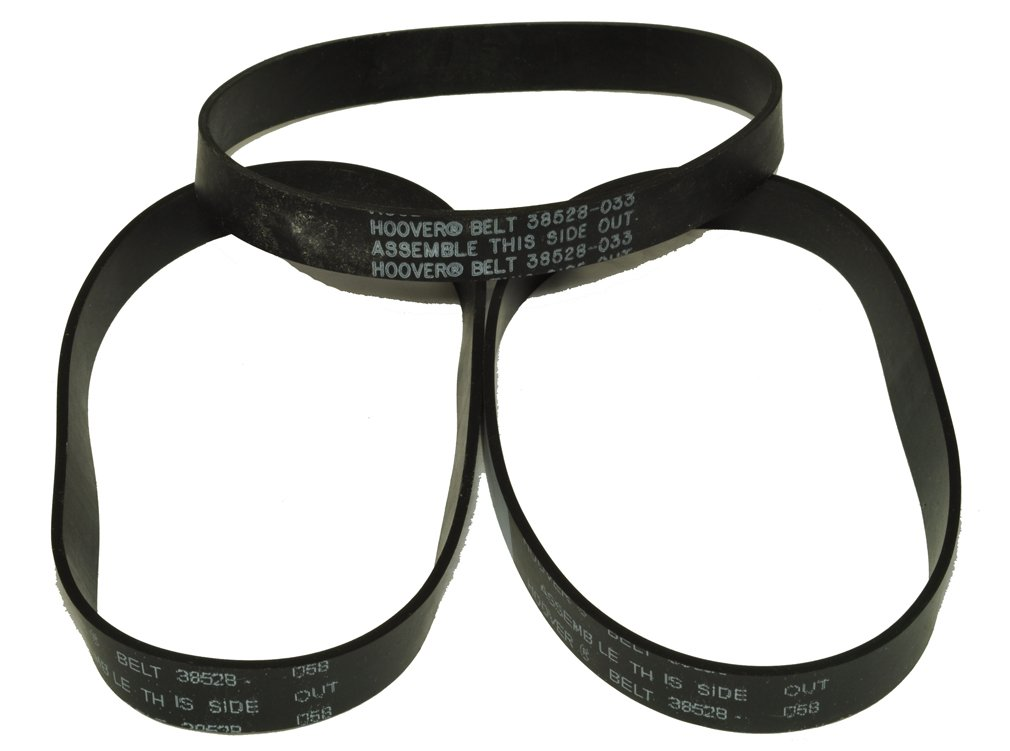 "Hoover Wind Tunnel Belts Models U5433-900, 13"" and 15"" Models, Fits: all Hoover Wind Tunnel Non-Self Propelled Machines, Hoover Part Number 38528-033, 3 belts in package"