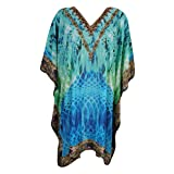Mogul Women's Lightweight Caftan Dress / Cover Up With V-Neck Jewels (Blue-4)