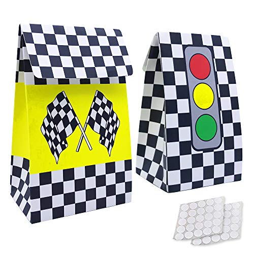20 Packs Checkered Racing Treat Bags Race Car Theme Party Favors for Sports Event and Kids Birthday Supplies (Boxes Race Favor Car)