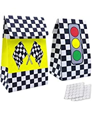 20 Packs Checkered Racing Treat Bags Race Car Theme Party Favors for Sports Event and Kids Birthday Supplies