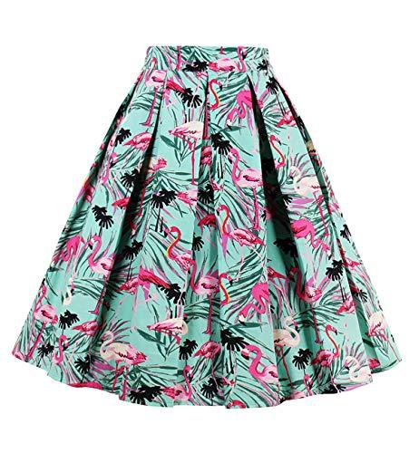 DJT Jupe Rouge A Jupe Style Vert Floral Line Imprime Rtro Vintage Couronne Plisse FASHION wwqxOTZ