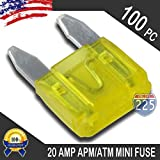 100 Pack 20 AMP APM/ATM 32V Mini Blade Style Fuses 20A Short Circuit Protection Car Fuse