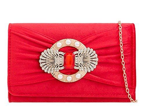 EMBELLISSEMENT main BIJOU Sac fête DIVA femmes pochette Rouge haute Small 'S NEUF mariage velours STRASS Rose pour à xOYFgnq4