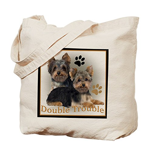 CafePress - Yorkshire Terrier Double Trouble Pillow - Natural Canvas Tote Bag, Cloth Shopping Bag (Double Trouble Tote)