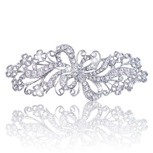EVER FAITH Wedding Filigree Bowknot Brooch Clear Austrian Crystal Silver-Tone