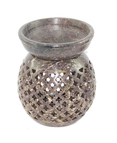 Karguzzari Marble Soapstone Candle Aroma Oil Diffuser Tea Light Oil Warmer T Light Aroma Oil Burner Essential Oil Lamp Aromatherapy Diffuser 3 Inch Marble (Brown)