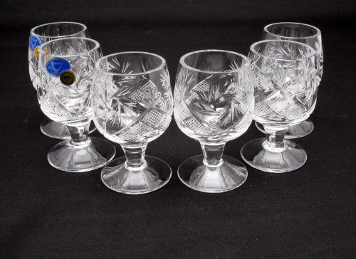 2 Cordial Glass - SET of 6 Russian CUT Crystal Shot Glasses on Short Stem 50ml Hand Made