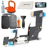 Zeetron Iphone 5 Replacement Bottom Dock Charging Port Flex Ribbon Headphone Jack Assembly + Premium Tool Kit + Screen Protector + Cloth (White), Best Gadgets