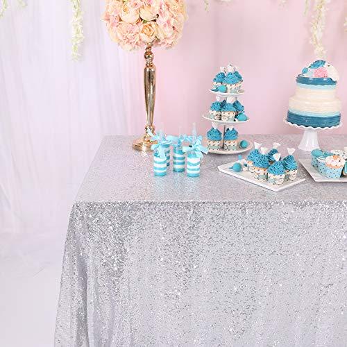 BalsaCircle TRLYC Sequin Seamless Rectangular Wedding Silver Sequin