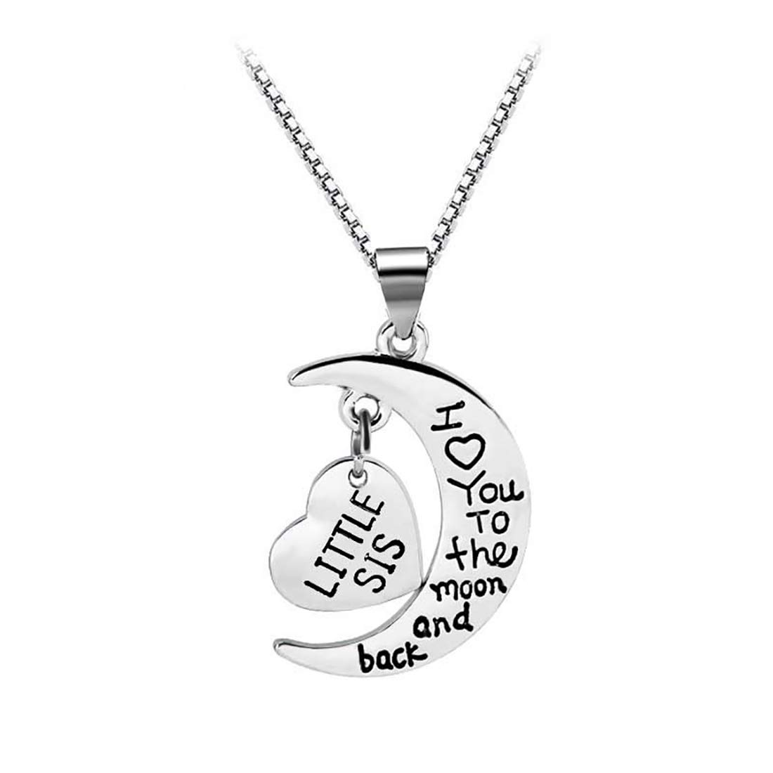 HOFOYA 3 Piece Suit Family Set Silver Love Heart Necklace Set for Sisters