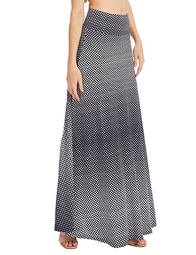 - WB1191 Womens Chevron Print Maxi Skirt XXXL Navy_Polka