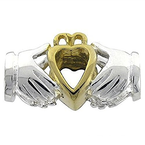 9k Designer Bracelet - Designer Inspirations Boutique ® Irish Celtic Claddagh Sterling Silver & 9ct Gold Charm Bead - Fits European Charm Bracelets
