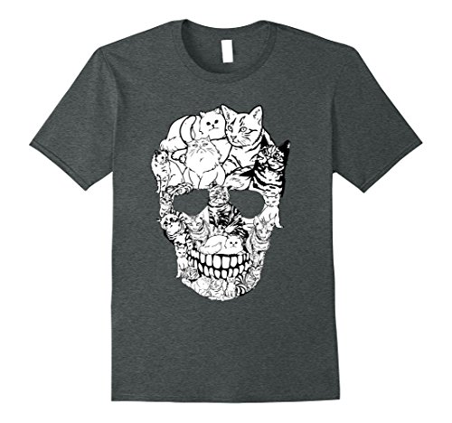 Mens Cat Skull T-Shirt - Kitty Skeleton Halloween
