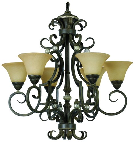Yosemite Home Decor F053A06LTS Mariposa 6 Light Chandelier, Turismo Glass Shades, Tuscan Sand Finished Frame, 30