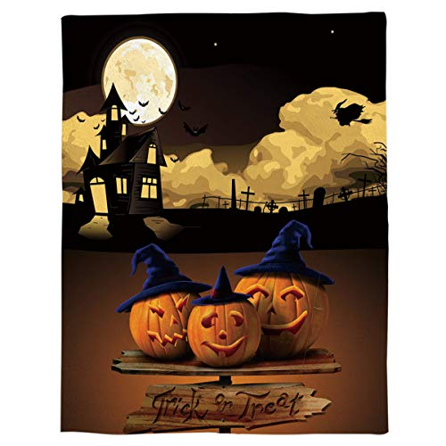 Xbacking Flannel Fleece Bed Blanket Halloween Cartoon Pumpkin Lantern Castle Witch Throw Blanket Lightweight Cozy Plush Blanket for Bedroom Living Rooms Sofa Couch 59