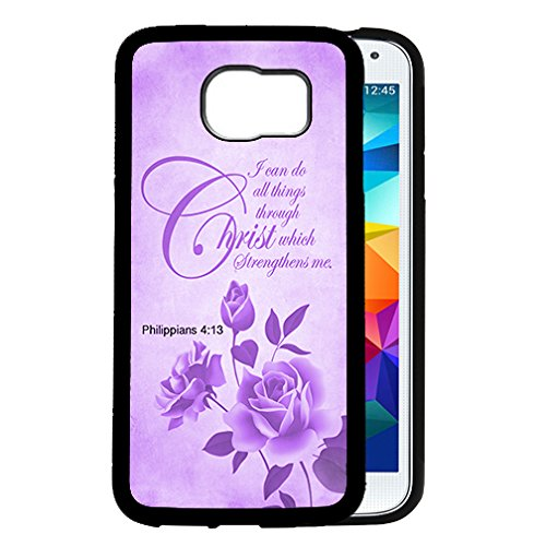 Overlays Grunge - Purple Color Roses Overlay Grunge Philippians 4:13 Bible Quote Religious Scripture Samsung GALAXY S6 (SM-G920) Rubber TPU Silicone Phone Case