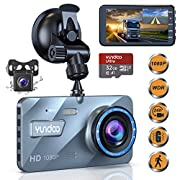 "#LightningDeal Dual Dash Cam Car Camera - Contain 32GB SD Card?Full HD 1080P Dash Camera for Cars?4""IPS Screen Dual Wide Angle Lens Car Dash Camera?G-Sensor?Cycle Recording?Parking Monitoring.(2019 Upgraded Version)"