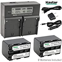 Kastar LCD Dual Smart Fast Charger & 2 x Battery for Sony NP-QM71D NP-QM91D NP-FM55H NP-FM70 NP-FM90 NP-QM91 and CCD-TRV338 350 608 DCR-DVD300 301 DCR-PC115 120 330 DCR-TRV6 Camera