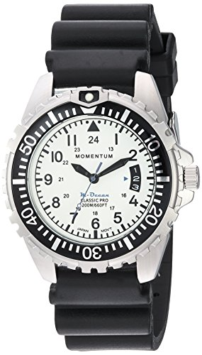 Momentum Men's Quartz Stainless Steel and Rubber Diving Watch, Color Black (Model: 1M-DN00L1B) - M1 Mens Dive Watch