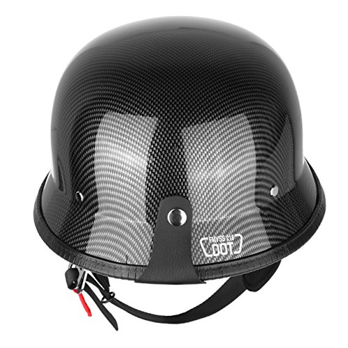 Iglobalbuy Half Helmet DOT Carbon Fiber German Style Motorcycle Cruiser Custom Airsoft Paitball Biker M/L/XL (L)