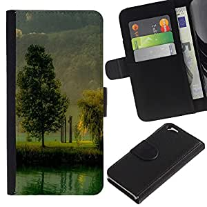 LASTONE PHONE CASE / Lujo Billetera de Cuero Caso del tirón Titular de la tarjeta Flip Carcasa Funda para Apple Iphone 6 4.7 / Nature Beautiful Forrest Green 184
