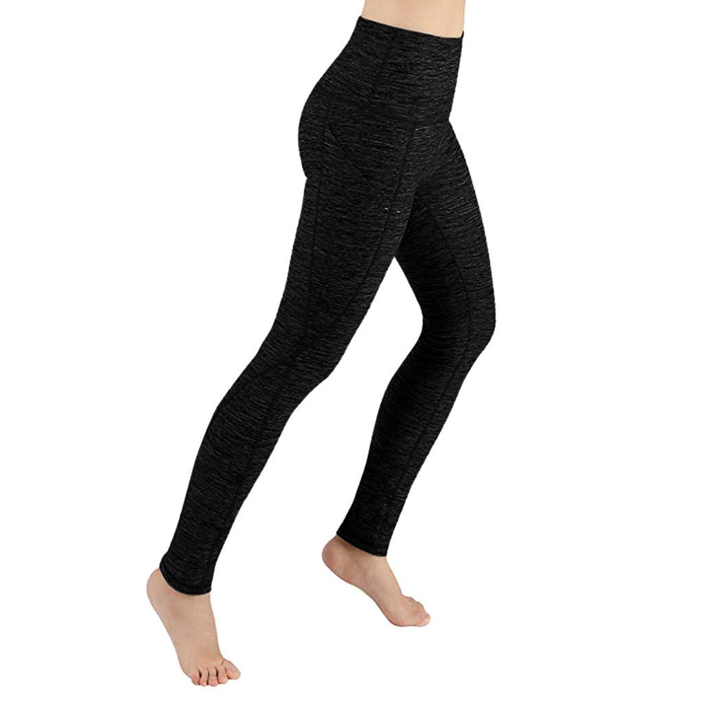 Sugely High Waist Leggings, Womens Running Tights with Pockets Power Stretch Yoga Pants Slim Fit Sports Trousers