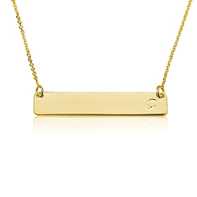 Amazon.com  Bar Necklace Personalized Name Necklace Initial Bar Necklace  18k Gold Plated (14 Inches)  Jewelry 141f5024f8