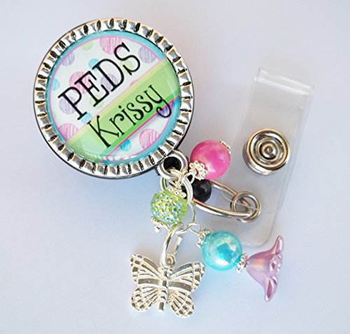 Personalized ID Badge Reel Lanyard Card Key Holder Custom Name Cute Bling Badge Polka Dot RN Peds lnp nicu rt xrt er emt nurse doctor gift YOUR CHOICE OF COLORS and CHARM