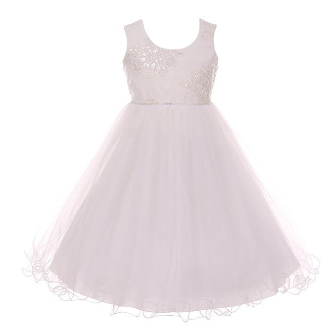 619379704434 Shanil Little Girls White Mesh Embroidered Wired Tulle Flower Girl Dress 2