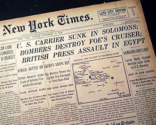 USS HORNET (CV-8) Aircraft Carrier Sinking Santa Cruz Isles 1942 WWII Newspaper THE NEW YORK TIMES, November 1, 1942
