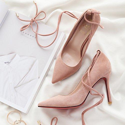 Chaussures Fines Pour Dames Polyvalentes Lanire Pointus Avec Transversales 40 Talons Femme Et Pouces 6 Noires Lgres FxzPFY