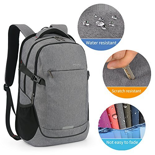 MIXI Laptop Backpack for Men Women Business Travel Backpack Water Repellent Computer Bag Durable College School Backpack with USB Charging Port Fits 15.6'' Laptop and Notebook(Grey-19inch) by Mixi (Image #8)