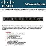 CISCO SMALL BUSINESS 1 SG500X-48P-K9-NA SG500X-48P 48PORT MANAGED GB POE W/ 4PORT 10GB STACKABLE SWITCH