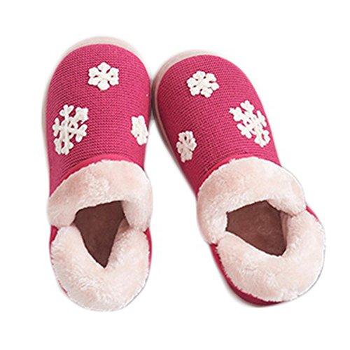 Cybling Winter Pluche Huis Schoenen Sneeuwvlok Antislip Warm Indoor Slippers Zachte Zool Voor Vrouwen Rose Rood