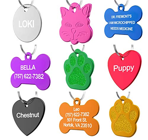 Pet Id Tag Custom For Dog Cat Personalized Many Shapes And Colors To Choose From Made In Usa Strong Anodized Aluminum
