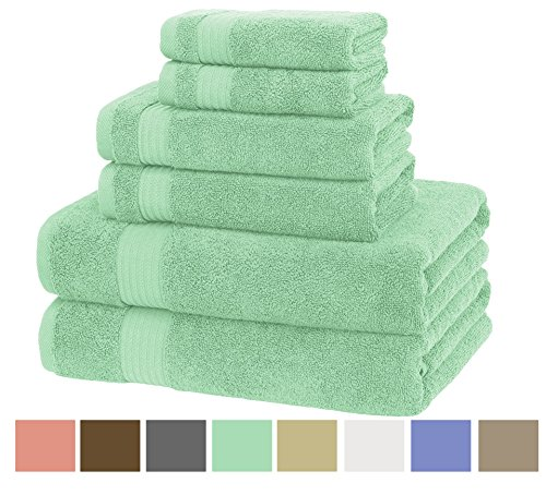Premium, Luxury Hotel & Spa, Turkish Cotton 6-Piece Towel Set for Maximum Softness and Absorbency by American Veteran Towel, Mint Green