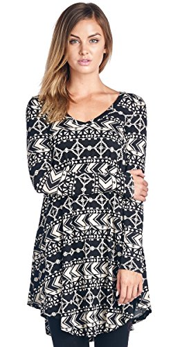 Popana Popana Women's Tunic Tops For Leggings - Long Sleeve Vneck Shirt - Regular and Plus Size - Made in USA 1X ST21