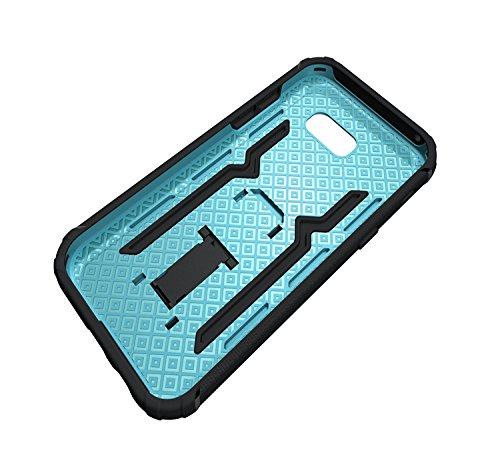 GR Para Samsung Galaxy A5 2017 A520 TPU y PC resistente de doble capa con caja de Kickstand Cool a prueba de golpes Armor Hybrid ( Color : Black ) Blue