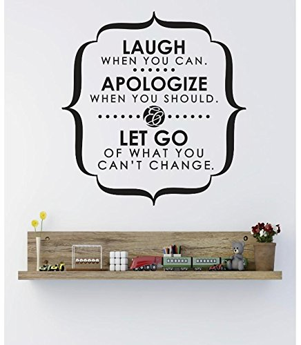 Design with Vinyl RE 1 C 2419 Laugh Apologize Let Go Image Quote Vinyl Wall Decal Sticker 12 x 18 Black