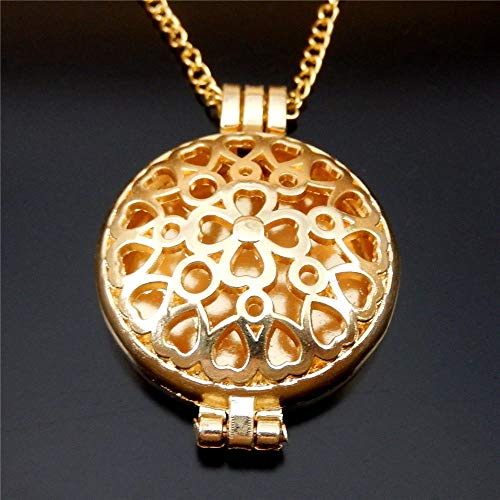 - 70cm Golden Alloy Hollowed Heart to Heart Lockets Pendants Oil Diffuser Necklace