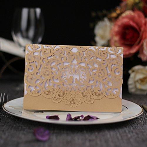 WPPOWER Exquisite Hollow Cut Lovebirds Wedding Invitation ()