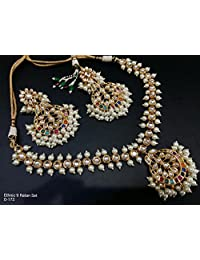 Indian Traditional Jewelry Bollywood Bridal Pearl Kundan Necklace Sets