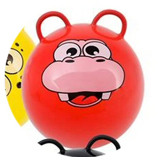 - Hippity Hop Exercise Hopper Jump Balls with Animal Face and Two Handles for Kids (Red Hippo)