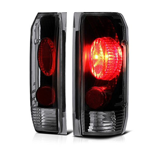 VIPMOTOZ Black Smoke Euro Style Tail Light Lamp Assembly For 1987-1996 Ford Bronco F-150 F-250 F-350 Pickup Truck, Driver & Passenger Side ()