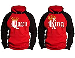 Couple Matching King and Queen Contrast Raglan Hoodie