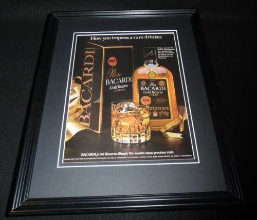 (Vintage Bacardi Gold Reserve Rum Framed 11x14 ORIGINAL Advertisement)